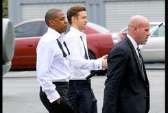 "BTS Photos: Justin Timberlake & Jay-Z On The Set Of ""Suit & Tie"""