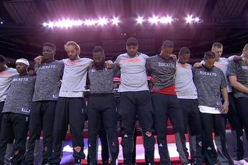 NBA Players Across The League Lock Arms During National Anthem As A Show Of Unity