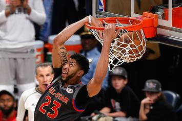 "Anthony Davis Gets In On The ""Drive-By Dunk"" Challenge"