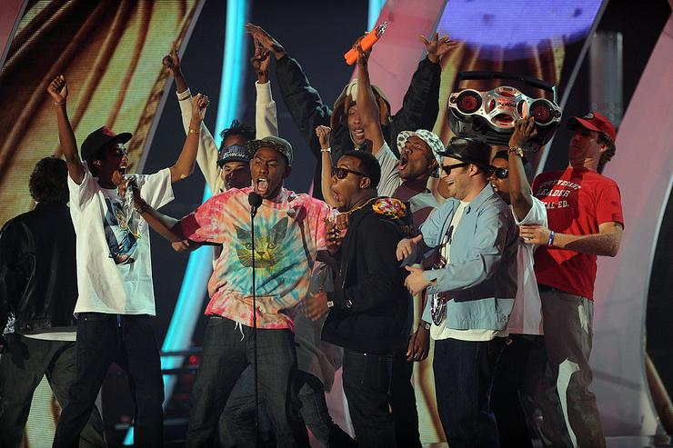 Odd Future onstage during the 2011 MTV Video Music Awards at Nokia Theatre L.A. LIVE on August 28, 2011 in Los Angeles, California.